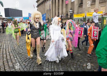 Gay Pride March Colourful Fun LGBQT - Stock Photo