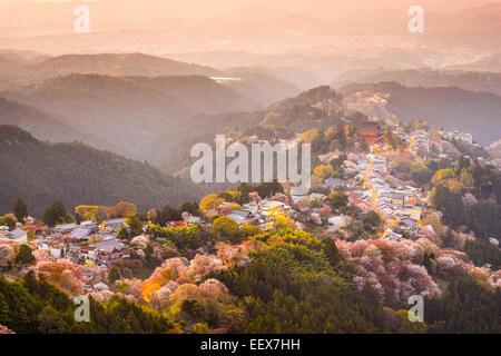 Yoshinoyama, Nara, Japan view of town and cherry trees during the spring season. - Stock Photo