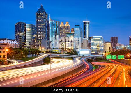 Atlanta, Georgia, USA downtown city skyline over the interstate. - Stock Photo