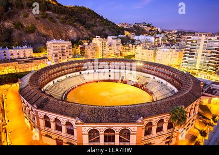 Malaga, Spain downtown skyline over the bullring. - Stock Photo