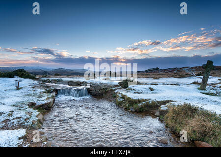 Windy Post on snowy Dartmoor National Park in Devon - Stock Photo