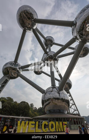 The Atomium is a building in Brussels originally constructed for Expo 58, Designed by André Waterkeyn, André and - Stock Photo