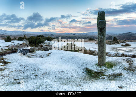 Winter snow at Windy Post on Dartmoor National Park in devon - Stock Photo