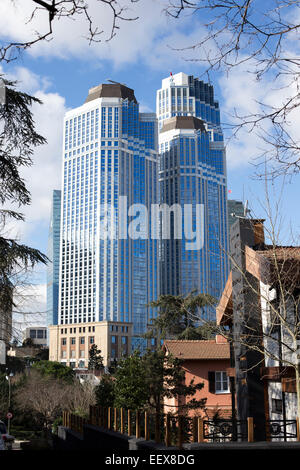 ISTANBUL, TURKEY - JANUARY 15, 2015: Is Bank Towers view, located in Levent district. - Stock Photo