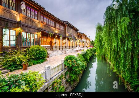 Fuzhou, China at Three Lanes Seven Alleys traditional shopping district. - Stock Photo