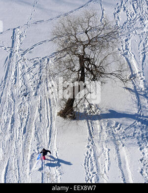 A child climbs up a hill as she was sledding next to the Bella Vista apartments in New Haven on Thursday afternoon. - Stock Photo