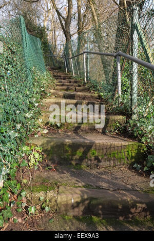 Steep steps on path down from Stapleton to Snuff Mills, in Bristol, England, UK GB - Stock Photo