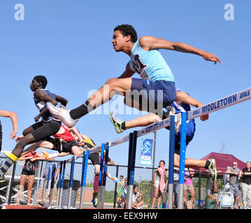 The High school Class L Track Championship meet in Middletown, CT USA. - Stock Photo