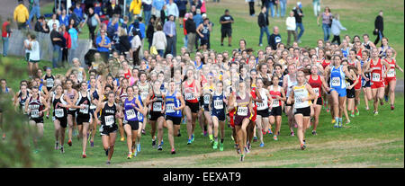 The start of the girls State Open Cross Country Championship at Wickham Park in Manchester. In the center, #2356 - Stock Photo