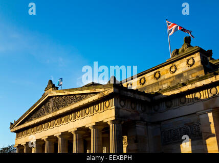 Front portico and stone columns of the Royal Scottish Academy on The Mound Princes Street in Edinburgh Scotland - Stock Photo