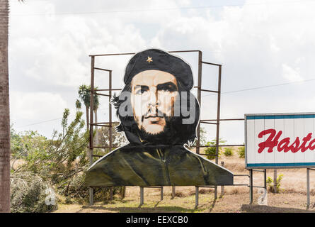 Typical large roadside billboard image of the famous national revolutionary hero and patriot Che Guevara, in Camaguey, - Stock Photo