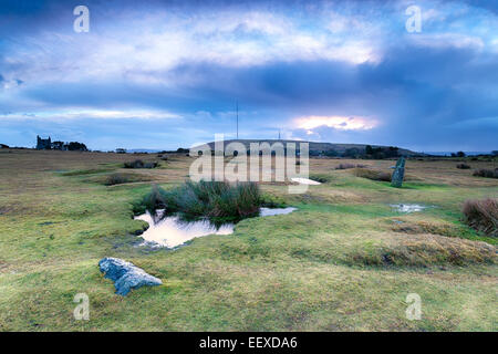 A view over Minions towards Caradon Hill on Bodmin Moor in Cornwall - Stock Photo