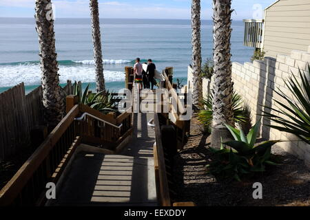... The Stairs And Surfing At The Grandview Beach Access In Encinitas, CA    Stock Photo