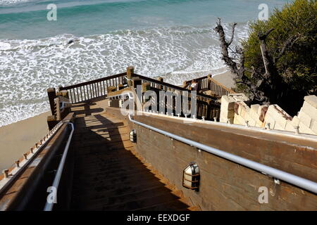 ... Stairs And Surfing At The Grandview Beach Access In Encinitas, CA    Stock Photo