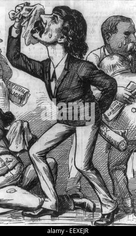 Bewailing the invulnerability of General Hancock - Political Cartoon showing men carrying and holding copies of - Stock Photo