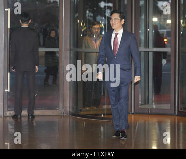 Lee Jay-yong, Jan 19, 2015 : Samsung heir Lee Jay-yong arrives at Hotel Shilla to attend an annual meeting with - Stock Photo