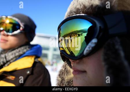 Yabuli, Dec. 5. 18th Jan, 2015. Tourists ski at a ski resort in Yabuli town, northeast China's Heilongjiang Province, - Stock Photo