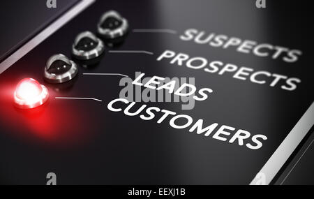 Illustration of internet marketing over black background with red light and blur effect. Lead conversion concept. - Stock Photo