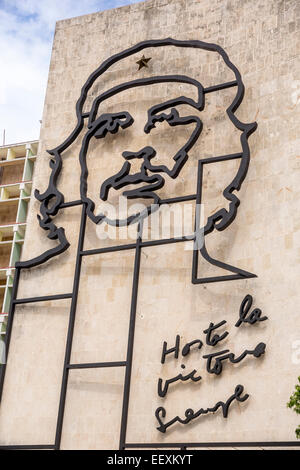 Ernesto Che Guevara as an art installation and propaganda work of art on a house wall on Revolution Square, house - Stock Photo