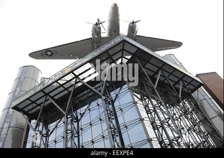 German Museum of Technology. Building on Landwehr Canal, toppe by an US Air Force Douglas C-47B. Berlin. Germany. - Stock Photo