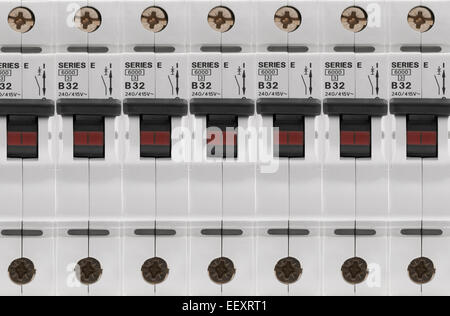 electrical circuit breaker fuse box switch on white background electrical circuit breaker electrical circuit breaker fuse box switches stock photo