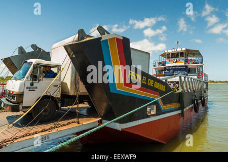 Ferry from Omotepe Island named after revolutionary Che Guevara unloads at San Jorge port; San Jorge, Rivas Province, - Stock Photo