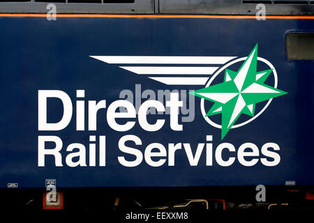Detail of Direct Rail Services class 57 diesel 'Cable thieves we`re watching you' liveried locomotive. - Stock Photo