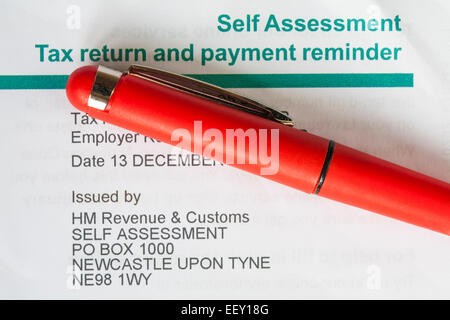 Self Assessment Tax return and payment reminder from HM Revenue & Customs - Stock Photo