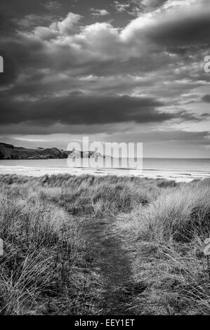 Strathy Bay Beach is well known surfing beach on the north coast of Scotland - Stock Photo