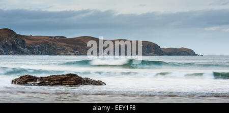 Looking across the sea from Strathy Bay towards Strathy Point - Stock Photo