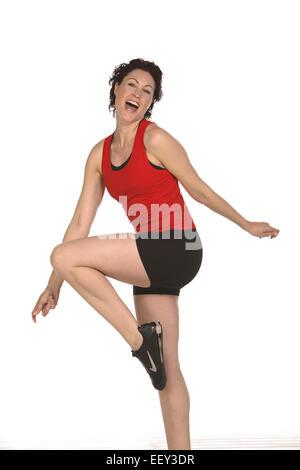 Frau, Sport, jung, Kurzhaarfrisur, sportlich, fit, froehlich, fröhlich, agil, vital, Gesundheit, Fitness, Vitalitaet, - Stock Photo