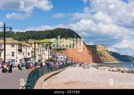 The seafront at Sidmouth, East Devon, England, UK in high summer on the Jurassic Coast - Stock Photo
