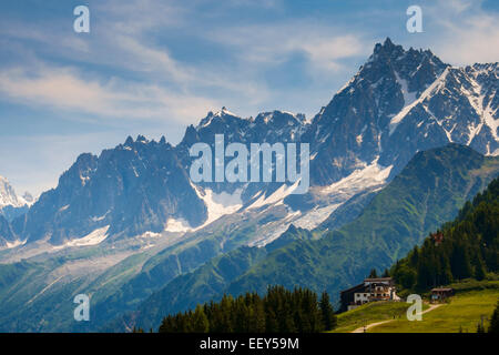 Aiguille du Midi and the Bellevue cable car station above Les Houches, Chamonix, French Alps, France, Europe - Stock Photo