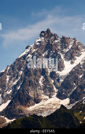 Aiguille du Midi summit with cable car station above Chamonix, Rhone-Alpes, Haute-Savoie, France, Europe - Stock Photo