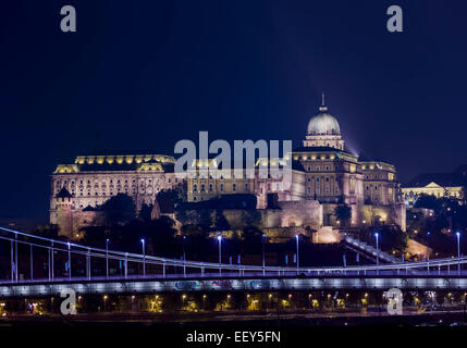 Night shot of the illuminated Buda Castle and Castle District in Budapest, Hungary - Stock Photo
