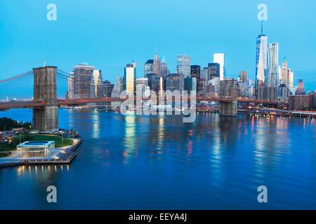 USA, New York State, New York City, Elevated view of Brooklyn Bridge - Stock Photo