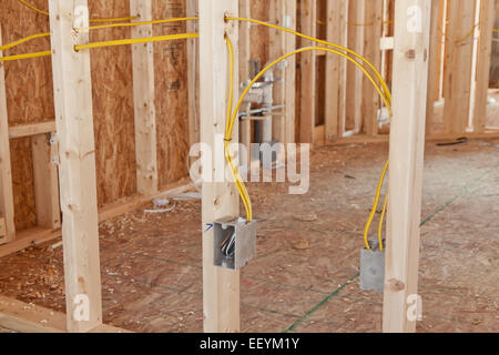 new electrical wiring in a house renovation project 1st fix stock rh alamy com wiring a new house for internet and tv wiring a new house with optical fiber