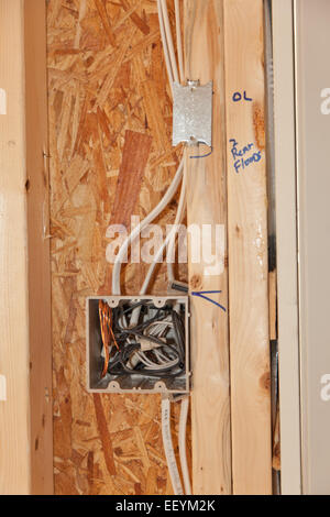 Electrical wiring in new home construction stock photo for Electrical wiring new construction