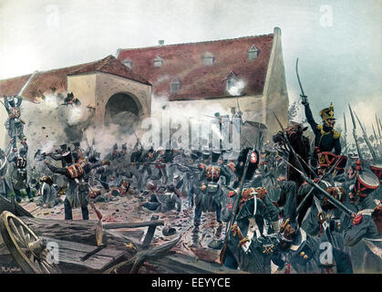 The French attacking a farm near La Haye-Sainte held by Anglo-German troops, Battle of Waterloo, 18 June 1815, Napoleonic - Stock Photo