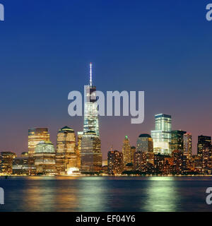 NEW YORK CITY- SEP 20: One World Trade Center at night on September 20, 2013 in New York City. It is the 4th highest - Stock Photo
