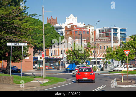 Traffic in the city center of Newcastle, New South Wales, Australia - Stock Photo
