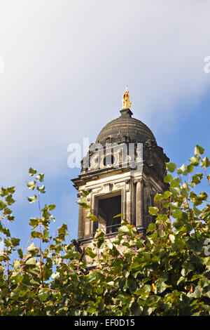 Tower of the Church of the Cross in Dresden. - Stock Photo
