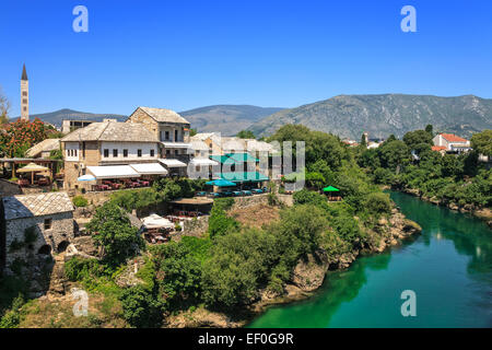 View at the Old Town in Mostar with emerald river Neretva. Bosnia and Herzegovina. - Stock Photo