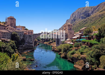 The Old Bridge in Mostar with emerald river Neretva. Bosnia and Herzegovina. - Stock Photo
