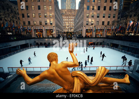 NEW YORK CITY, NY - MAR 30: Rockefeller Plaza ice rink on March 30, 2014 in New York City. Declared a National Historic - Stock Photo