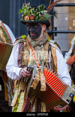 Musician wearing leather eye & nose mask at Nantwich, Cheshire, UK. 24th Jan, 2015. Penkhull Domesday Morris dancers - Stock Photo