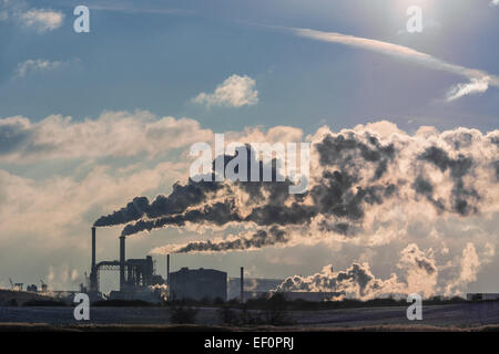 View to an industrial area in Wismar (Germany). - Stock Photo