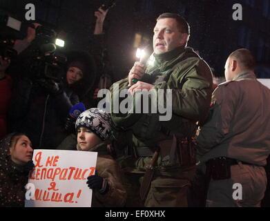 Donetsk, Ukraine. 24th Jan, 2015. Alexander Zakharchenko, head of the Donetsk People's Republic (DPR), speaks at - Stock Photo