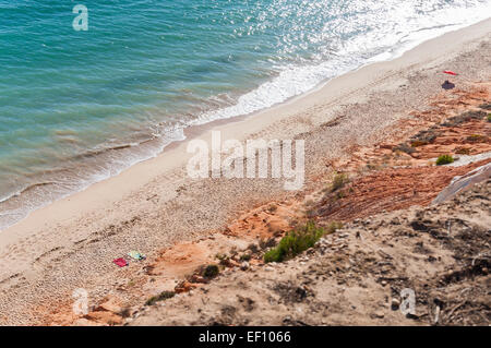 Beautiful Falesia Beach in Portugal seen from the cliff - Stock Photo