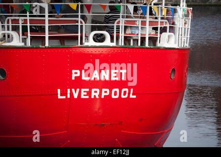 The Planet Mersey Bar lightship, Liverpool Docks, Merseyside, England, UK - Stock Photo